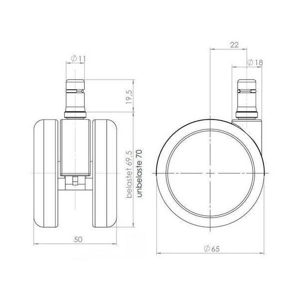 Ruote Per Sedie Ufficio Parquet.Hjh Office 619020 5x Ruote Design Cromo Rolo Lux 11 Mm 65 Mm