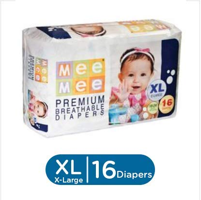 Mee Mee Premium Extra Large Size Diapers (16 Count) Taped Diapers at amazon