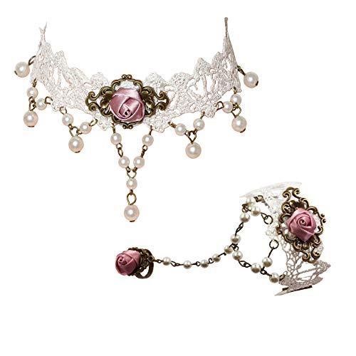 Milakoo White Lace Gothic Style Tassel Flower Pendant Choker Princess Lolita Necklace Bracelet Set
