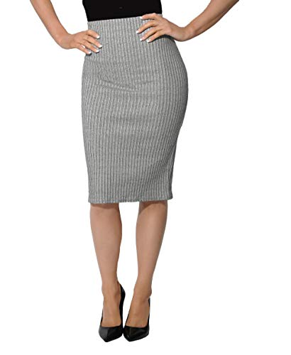 Krisp 3409-GRY-14: Back Zip Jersey Pencil Skirt Grey ()