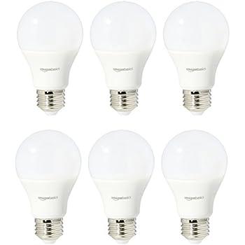 AmazonBasics 60 Watt Equivalent, Daylight, Non-Dimmable, A19 LED Light Bulb, 6-Pack