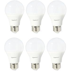 AmazonBasics 75 Watt Equivalent, Soft White, Non-Dimmable, A19 LED Light Bulb | 6-Pack