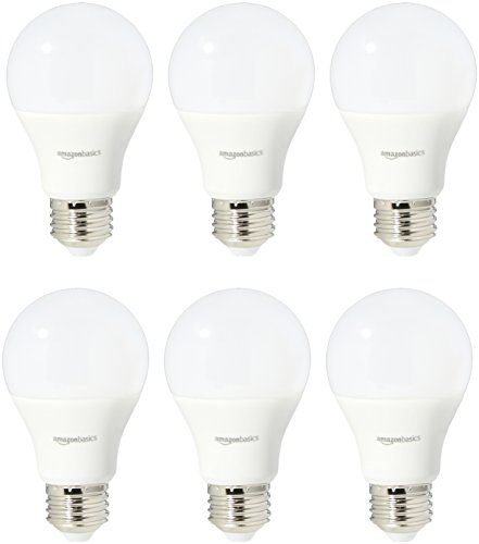 AmazonBasics 60 Watt Equivalent, Daylight, Non-Dimmable, A19 LED Light Bulb | 6-Pack 10w Frosted White Socket