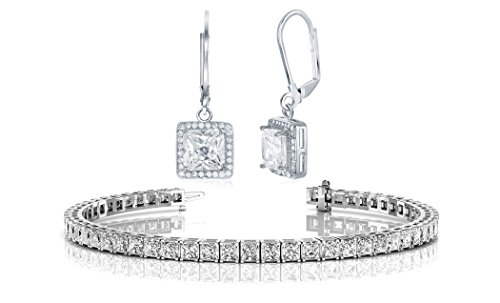 (NYC Sterling Halo Drop Earrings and Tennis Bracelet Bridal Gift Set (Princess)