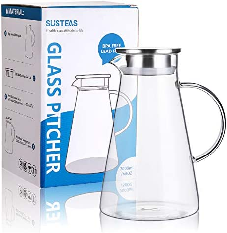 Susteas 2 0 Liter 70 Ounces Glass Pitcher With Lid Iced Tea Pitcher Water Jug Hot Cold Water Ice Tea Wine Coffee Milk And Juice Beverage Carafe Amazon Co Uk Kitchen Home