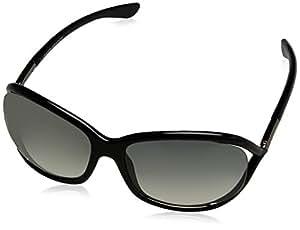 Tom Ford Women's Gradient Jennifer FT0008-01B-61 Black Rectangle Sunglasses