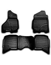 OMAC Allweather automatten compatibel met Dodge Ram 1500 2500 3500 Quad Cab 2012-2018 3D pasvorm hoge rand rubberen matten allweather vloermatten zwart 4-delig