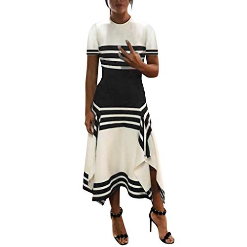 WEISUN Women Stripe Dresses Casual Sleeve Dress Women Round Neck Vestido Midi Party Dresses White