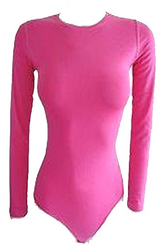Elegance Women's Stretch Cotton Round Neck Long Sleeve Bodysuits (X-Small (UK 6), Hot - Uk Hot Women