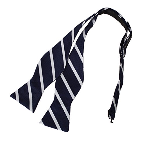 DBA7A06G Navy White Stripes Bow Tie Microfiber Gift For Shopstyle Hand-model Bow Tie By Dan (White Stripe Self Tie)