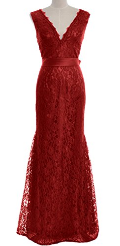 MACloth Women Mermaid V Neck Lace Long Mother of Bride Dress Formal Evening Gown Burgundy