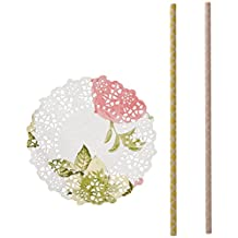 Talking Tables Mini Floral Doilies 100 Pack and Outside the Box Papers Damask Paper Straws 50 Pack Pink, Yellow, Green