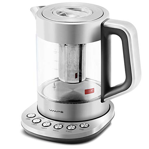 - Vianté Electric Glass Tea Kettle with Tea Infuser | Programmable Temperature Control | 4 Pre-Set Tea Programs plus Fast Boil & Keep Warm Features | BPA-Free Borosilicate Glass | Stainless Steel | Large 1.7 Liter Capacity | Cordless.