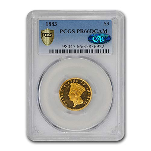1883 S Gold Princess PR-66 PCGS DCAM CAC $3 PR-66 PCGS