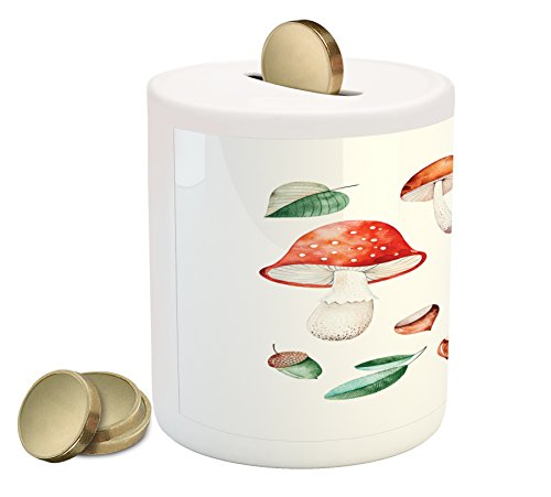 Ambesonne Autumn Coin Box Bank, Fall Season Mushrooms Chestnuts with Hand Drawn Foliage Leaves Watercolor Design, Printed Ceramic Coin Bank Money Box for Cash Saving, ()