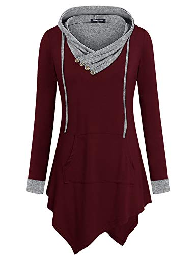 Miagooo Uneven Hemline Hoody Shirt Pocket Tunic Long Sleeve Casual Tops (XX-Large, Wine)