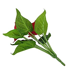 MARJON Flowers1 Pc Artificial Plants Red Anthurium Fake Flowers Lifelike Indoor Decoration Never Wither and Fall (no Pot) Size 33cm (Red+Green) 2