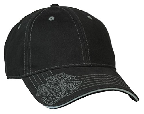 Harley-Davidson Men's Woven Bar & Shield Logo Baseball Cap, Solid Black BCC30230