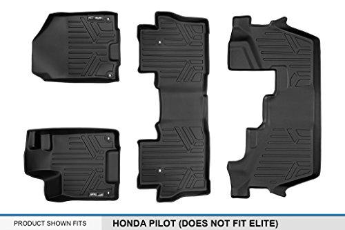 SMARTLINER Floor Mats 3 Row Liner Set Black for 2016-2018 Honda Pilot (No Elite Models) by MAX LINER (Image #5)
