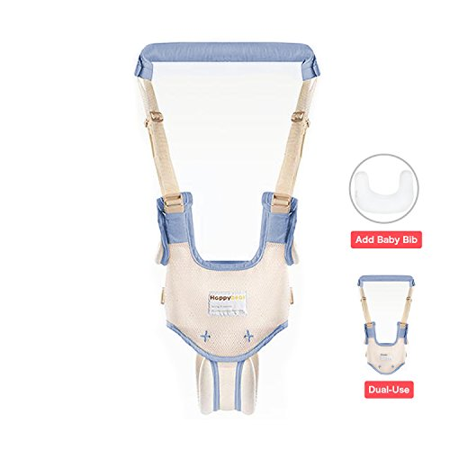 Dual Use Handheld Baby Walker,Safe Breathable Adjustable Baby Toddler Assistant Walking Harness for 8-15 Months Baby (Blue)
