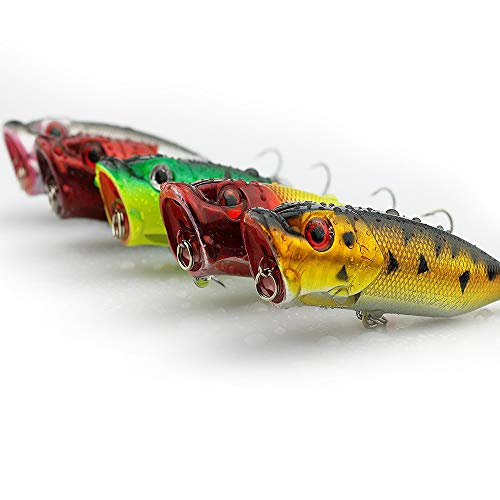 Erchang Fishing Plug Lures, Fishing Bait Tackle Hard Popper Fishing Gear with Treble Hooks in Saltwater Freshwater for Bass Trout Crankbait Walleye