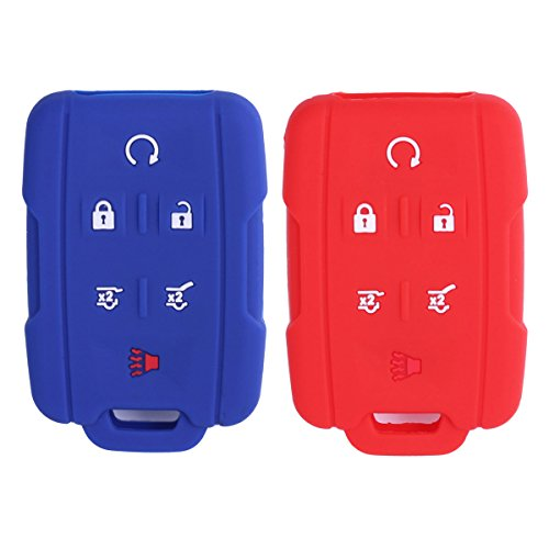 2Pcs WERFDSR Sillicone key fob Skin key Cover Remote Case Protector Shell for 2015 2016 Chevrolet Suburban Tahoe GMC Yukon Smart Remote red blue