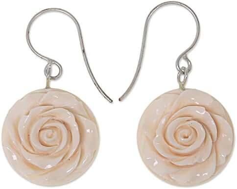NOVICA Stainless Steel Bone Dangle Earrings 'Glorious Rose'