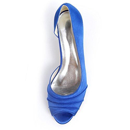 De L Las Flores Mujeres De Los Zapatos TacóN Corte Grueso De De De 6cm Navy Bombas Los Boda Blue Pies YC Zapatos PíO Blancos En qqCrwp