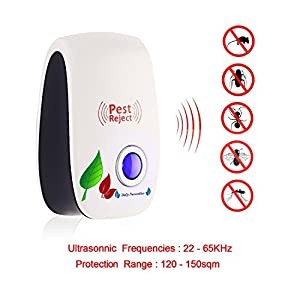 [2018 Upgraded] 6 Packs Ultrasonic Pest Repeller, Electronic Plug-In Ultrasonic Pest Control, Best Pest Repellent for Cockroach, Rodents, Flies, Roaches, Ants, Mice,Spiders, Fleas. Daily-Necessities