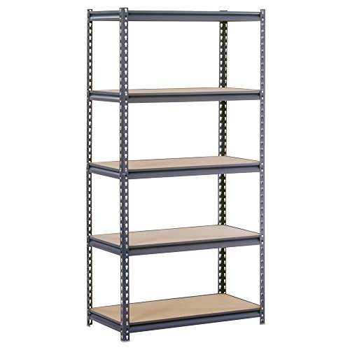 Open Adjustable Steel Shelving (Edsal UR185P-GY Gray Steel Industrial Shelving, 5 Adjustable Shelves, 4000 lb. Capacity, 72