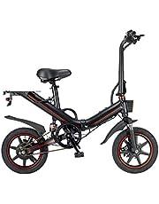 OUXI V5 Elektrische fiets voor volwassenen, elektrische fiets 48 V 10 Ah/15 Ah maximumsnelheid 25 km/u 14 inch wielen mini heren en dames