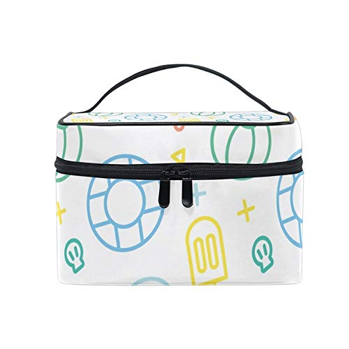 Travel Makeup Bags With Zipper Summer Fish Volleyball Popsicle White Cartoon Stick Figure Cosmetic Bag Toiletry Bags Train Cases Storage Bags Portable Multifunction Case with Adjustable Dividers