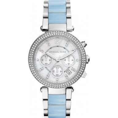 Michael Kors Parker Silver Dial Two-Tone SS Multi Quartz Ladies Watch (Two Tone Chronograph Silver Dial)