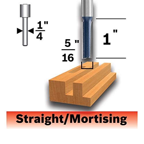 Bosch 85224MC 5/16 In. x 1 In. Carbide-Tipped Double-Flute Straight Router Bit