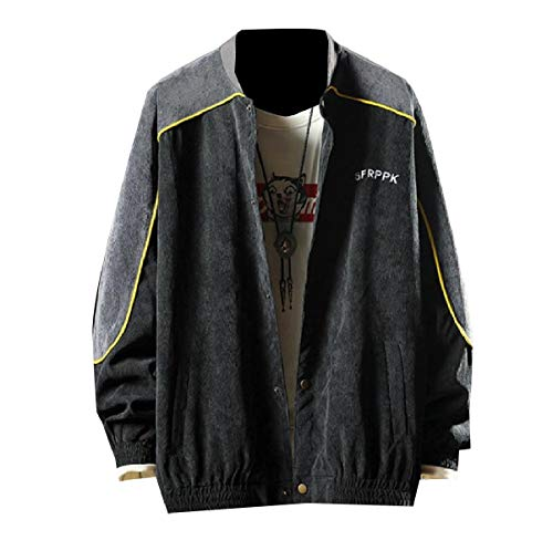 MogogoMen Juniors Casual Autumn Loose Fit Splice Vogue Bomber Jacket Black
