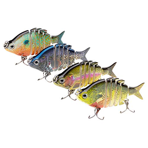 Bassdash Hard Swimbaits Segmented Panfish Shad Minnow Crank Lure 2.5in 3.2in for Bass Pike Walleye Salmon Fishing