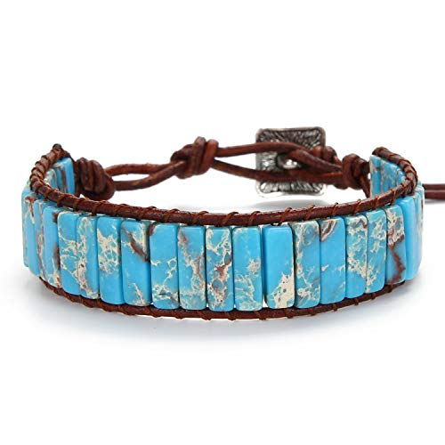 SCIONE Natural Jasper Stone Bracelets Fashion Mens Leather Bracelet Handmade Boho Anxiety Bracelet Adjustable Bohemian Tube Bead Bracelets for Women Girls