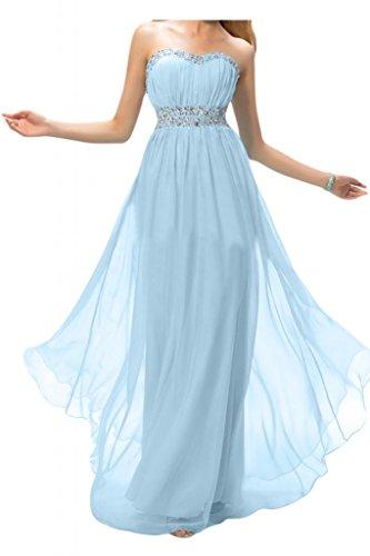 Toscana dibujos Rueckenfrei por la noche vestidos de novia de la gasa de la bola de la dama de honor de largo Prom vestidos de fiesta Hell Himmel Blau