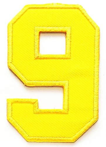 - PP Patch Yellow Number 9 Math Counting no 9 School Patches Arabic Number 0-9 Embroidered Patch Applique for Clothes Jackets T-Shirt Jeans Skirt Vests Scarf Hat Backpacks