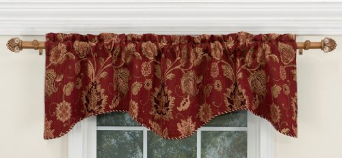Style Master Renaissance Home Fashion Melbourne Chenille Scalloped Valance with Cording, Burgundy 52-Inch by 17-Inch ()