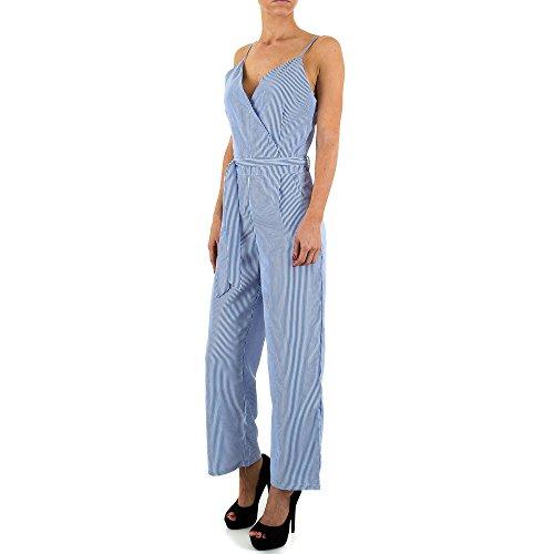 Ärmelloser Jumpsuit Overall Für Damen , Blau In Gr. S bei Ital-Design