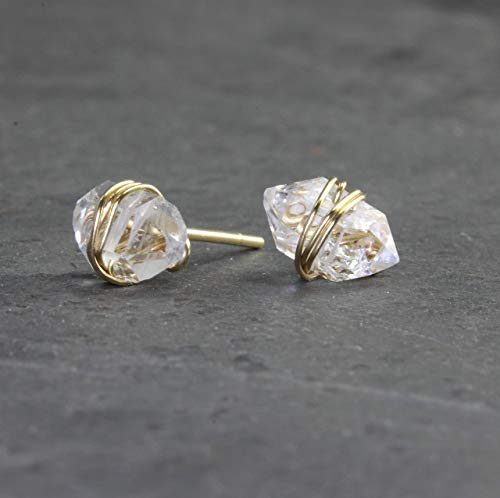 Herkimer Diamond Gold Wrapped Stud Earrings
