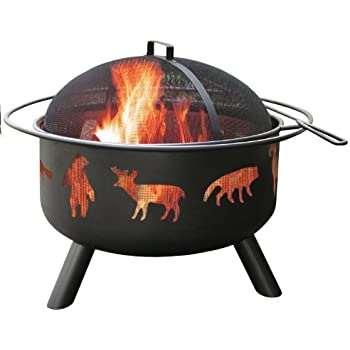 Landmann 28347 Big Sky Fire Pit, Wildlife, Black