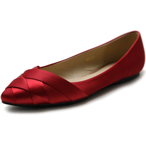 Ollio Womens Chaussures Ballet Tissé Bout Pointu Robe Plate Rouge