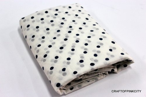 Polka Dot Dress Fabric (5 Yard Indian Hand Block Polka dot Print Fabric Natural Garment Dress Cotton Fabric)