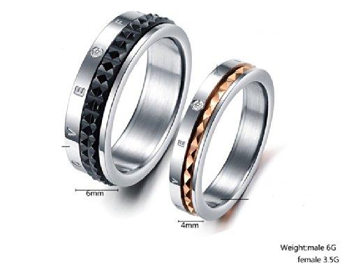 """JewelryWe Bijoux Bague Homme """"Forever Love"""" Mariage Acier Inoxydable Anneaux Fantaisie Couleur Argent Noir Largeur 6mm Avec Sac Cadeau(Taille de Bague Optionnel)"""