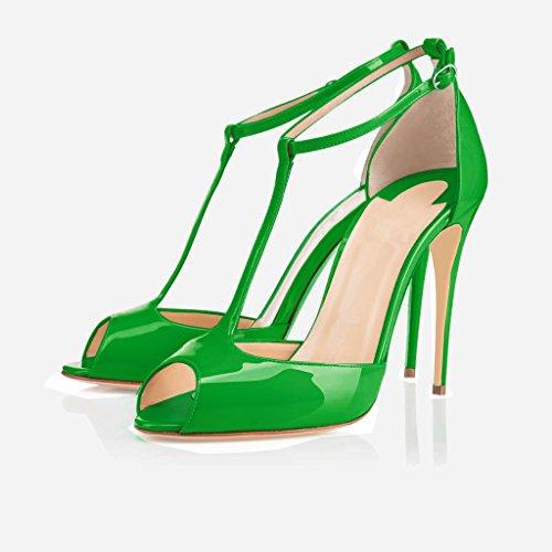 Eldof Womens High Heel Sandals  Peep Toe T-Strap 10cm Pumps   Ankle Buckle Wedding Dress Shoes Green p68PwKfUf