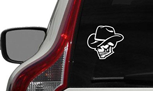 Skull Wearing Cowboy Hat Car Vinyl Sticker Decal Bumper Sticker for Auto Cars Trucks Walls Windows and More (WHITE) -