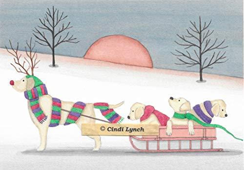 Lynch Christmas Cards: Yellow Labrador Retriever (lab) Family Takes Holiday sled Ride Folk Art (Labrador Christmas Cards)