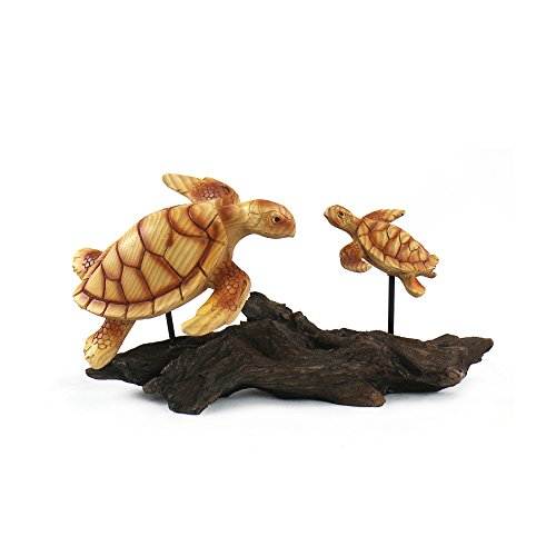 Marine Life Collection Woodlike Mom and Baby Sea Turtle